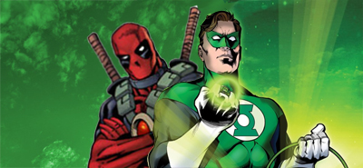 Apparently Green Lantern's secret identity is Deadpool...
