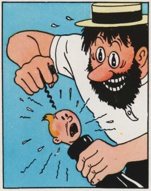 Captain Haddock attacks Tintin with a corkscrew