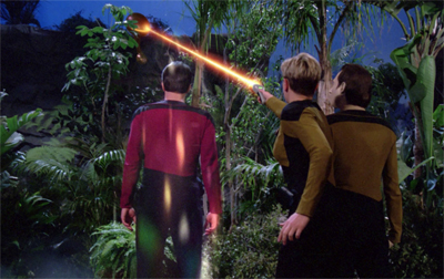 Riker isn't phased in the slightest...