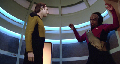 This is Worf's typical contribution to a first season episode of The Next Generation...