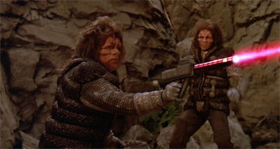 Real men fire pink lasers...