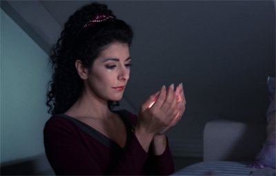 Don't worry, Troi. Face of the Enemy is less than half a decade away...