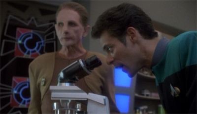 Sadly, the story does not feature DS9's first CSI montage...