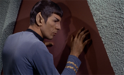 Spock's attempts to meld with door were less than successful...