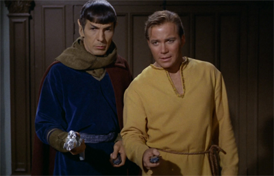 Kirk and Spock decide to disguise themselves as Star Wars characters a decade before A New Hope is released. Ingenious.