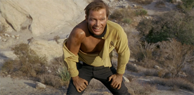 A shirtless scene! We must be in Shatner's fantasy!