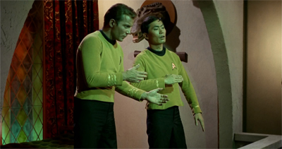 "The Enterprise's annual ""robot"" dance-off was going to be tight this year..."