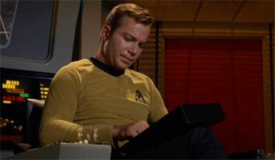 Kirk is not impressed with the shooting script...