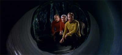 I like how the red shirts are smart enough to stand behind Kirk...