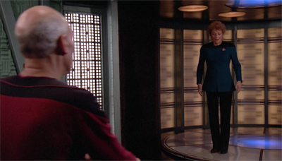 Picard is beaming with enthusiasm to have her on board...
