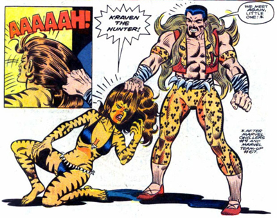 Tigra's troubles really kicked into high-gear when Kraven decided tiger-stripe pants were the fashion of 1985...