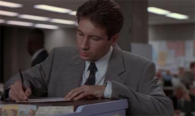 Ah, paperwork, the most rewarding part of Mulder's job...