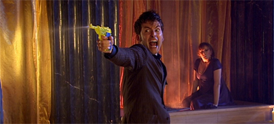 He's got a water gun, and he's not afraid to use it...