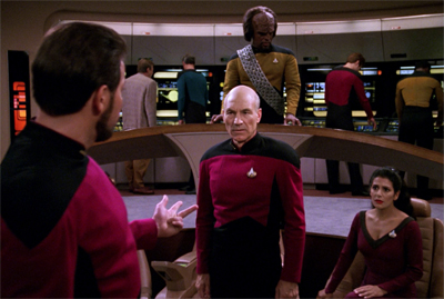 Riker has a lot to explain when the nanites start playing his multimedia programmes randomly...