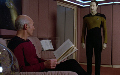 Picard gets ready to throw the book at him...