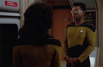 Just when you think it's gonna be a Geordi romantic comedy episode... bam!