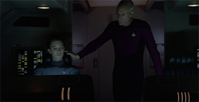 I love how Picard comes so close, but still avoids touching Wesley on the shoulder...