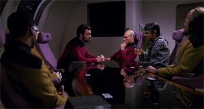 A crew de-briefing...