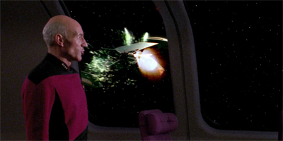 Geordi's welcoming fireworks display went a bit askew...