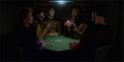I've never thought about it before, but doesn't Geordi's visor give him a bit of an advantage in poker?