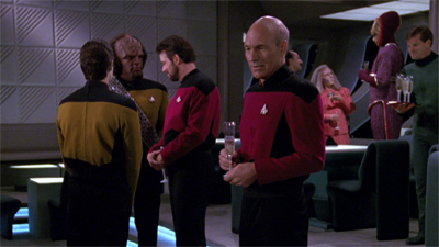 From Patrick Stewart's delivery, I suspect that is not Picard's first champagne flute...
