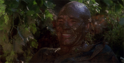 In a nice touch, the parts of Picard's face least covered with mud were the parts most covered with implants...