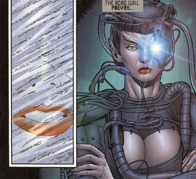 For a Borg drone, she has some pretty strong lipstick...