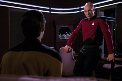"Picard broaches the awkward issue of whether he gets to be ""Cool Uncle Jean-Luc."""