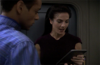 Well, let's face it, that's about the least embarrassing thing she could have caught Bashir reading...