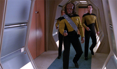 """We're fifteen minutes into the episode! I'm sure Worf will solve the problem!"""
