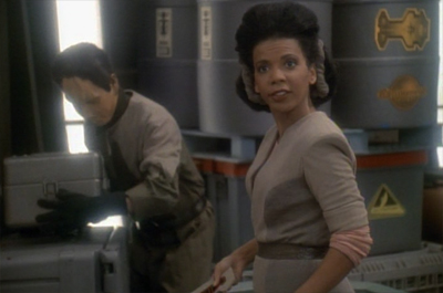 It's also a little cool that Kasidy outranks Sisko (at least for another episode or so)...