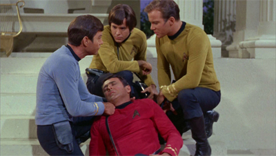 """I told you it was a mistake to beam Scotty down as the only member of the team in a red shirt!"""