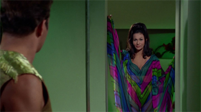 Kirk can see right through her (dress)...