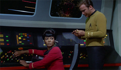 """Don't worry, Uhura, I'm sure the franchise'll figure out how to write a communications officer eventually..."""