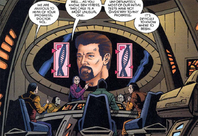 "One of the better gags - tying into Tom Riker's ""evil goatee"" - is the suggestion that the Enterprise simply picked him up from an alternate universe..."