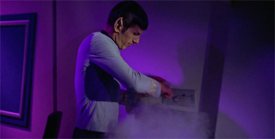Spock discovers first hand why you don't turn the Enterprise's mood lighting and fog machine on at the same time.