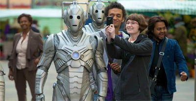"""These Cybermen are much cooler about having their pictures taken than those Daleks..."""