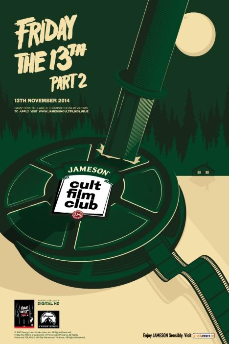 Jameson Cult Film Club screening of Friday The 13 Part 2, Galway Nov 13th