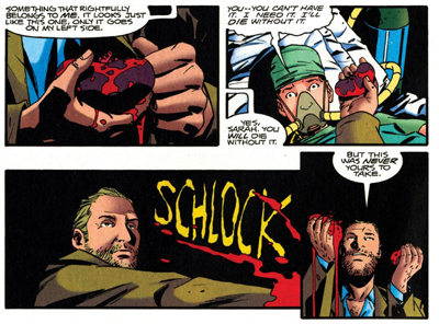"""Schlock"" is a delightfully appropriate sound effect."