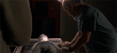 """You know, I'm starting to wonder if his alien family would be cool with us filming his autopsy like this?"""