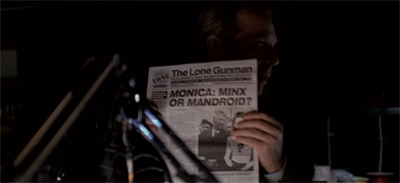 "Gotta love the recurring ""mandroid"" fixation in the Lone Gunmen headlines..."