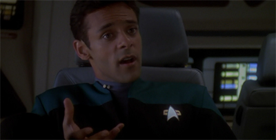 "Bashir retains the title of ""worst runabout guest ever."""