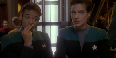 You know you're in trouble when you seek relationship advice from Bashir and Dax...