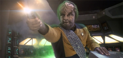 After aggressive contract negotiations, Worf joined the crew...