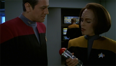 "And with that, we're into the ""female cast members"" point phallic objects at Chakotay section of the episode..."