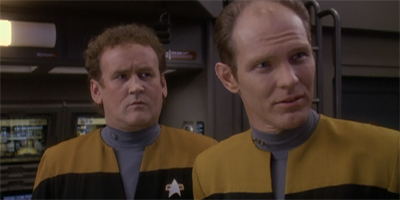 "Gotta love how offended O'Brien looks when Eddington has the gall to spout a line of technobabble. ""Hey, that's my job."""