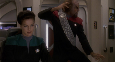 """I don't know if you heard me counting. I did over 1000."" Worf's courtship of Jadzia hits a snag."