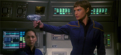 "T'Pol's decision to stop wearing the catsuit was surprisingly controversial. ""What? I have a commission."""