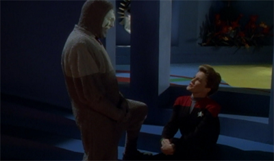 """C'mon, Captain! You'd think we'd be best buddies, given the path you're about to carve for yourself through the Delta Quadrant!"""