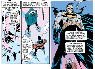 """Have you been wearing that cape under your snow jacket for that dramatic reveal, Master Bruce?"""